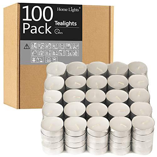 Tealight Candles - 4 Hours - Giant 100,200,300 Bulk Packs - White Unscented European Smokeless Tea Lights for Shabbat, Weddings, Christmas, Home Decorative- 100 Pack
