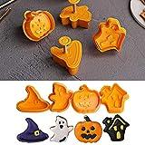 4PCS Biscotti Tagliapasta di Halloween - DIY Stampo per Taglio Halloween in Plastica, Biscotti Tagliapasta Set con Push