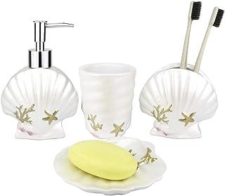 JYXR 4 Piece Bathroom Sets, Seashell Style Bathroom Accessory Set, Includes Liquid Soap Dispenser, Toothbrush Holder, Tumbler, Soap Dish