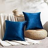 Topfinel - Funda de cojín de 60 x 60 cm, de terciopelo suave, azul marino, 2 unidades para salón, dormitorio, funda de cojín cuadrada, diseño liso, decoración navideña, sofá moderno