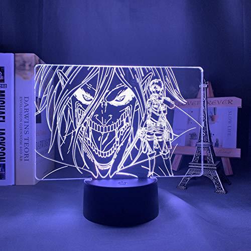 Lámpara de noche acrílica 3D Attack On Titan Levi Ackerman para decoración del hogar Lámpara de anime Control remoto Attack On Titan Led Night-Color1_7_Colors_No_Remote