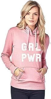 Womens Juniors Pink White GRL PWR Trendy Print Hooded Sweatshirt S-XL