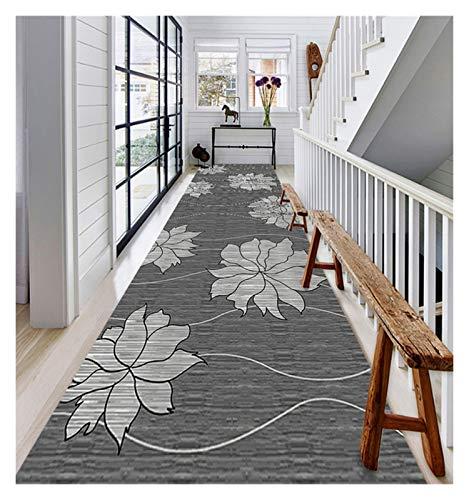 XIAWU Alfombra De Área Escalera Entrada Sala Dormitorio Antideslizante Se Puede Cortar (Color : Gray, Size : 90x750cm)