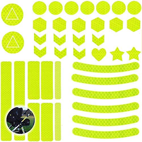 Ouceanwin 40 Pegatinas Reflectoras, Juego Láminas Reflectantes para Marcas Seguridad, Cinta Reflectora Autoadhesiva para Cochecitos, Bicicletas, Cascos, Mochila, Altamente Reflectante e Impermeable