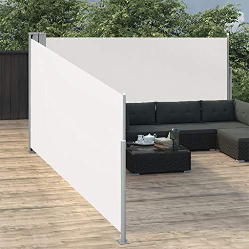Festnight Ausziehbare Seitenmarkise Balkon Garten Terrasse Seitenmarkise Zertifiziert Sonnenschutz Sichtschutz Creme 140 x 1000 cm