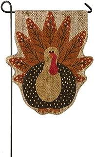 Evergreen Flag Turkey Time Shaped Burlap Garden Flag, 12.5 x 18 inches