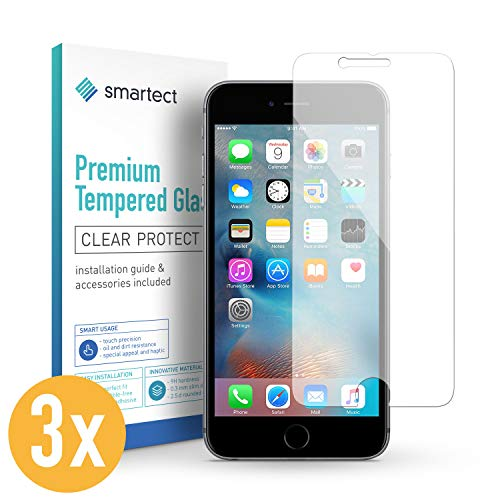 smartect Panzerglas kompatibel mit iPhone 6 / 6s [3 Stück] - Displayschutz mit 9H Härte - Blasenfreie Schutzfolie - Anti Fingerprint Panzerglasfolie