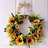 You's Auto 13.8' Artificial Sunflower Hanging Wreath,Natural Garlands Door Wreaths,Fall Door Wall Wreath Ornament Garland Halloween Thanksgiving Day Autumn Window Decorations (Sunflower Wreath)