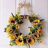 You's Auto 13.8' Artificial Sunflower Hanging Wreath,Natural Garlands Door Wreaths,Fall Door Wall Wreath Ornament Garland Halloween Thanksgiving Day Autumn Window Decorations