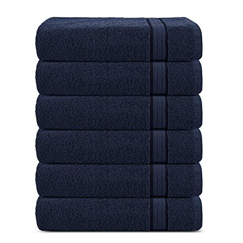 Juego de 6 toallas de algodón de lujo súper suaves de 600 g/m2, 30 x 30 cm, de Sweet Needle, de color Azul marino - toallas de doble capa, gruesas, absorbentes, de secado rápido