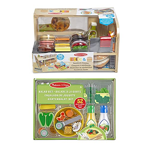 Melissa & Doug- Slice & Stack Sandwich Counter Delantales y Guardapolvos (41650)+Juego de Ensalada, Multicolor (19310)