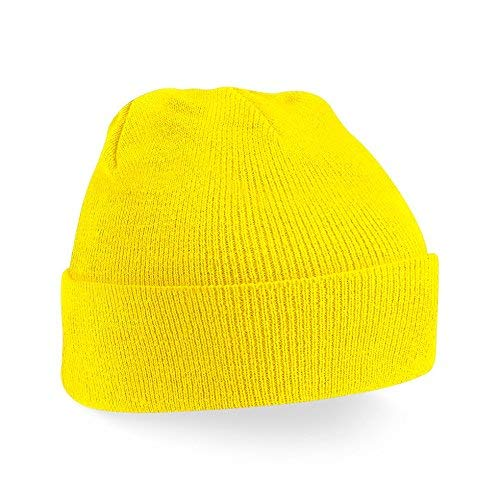 Beechfield B045.YEL Cuffed Bonnet Mixte, jaune, taille unique