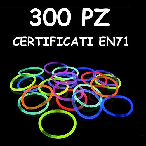 braccialetti fluorescenti Applife Braccialetti Luminosi Starlight Fluorescenti BRACCIALI Disco Fluo DJ (300 Pezzi)