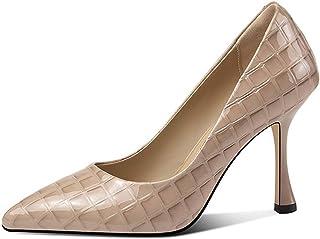 Women's Shallow Hoge Hakken, Puntschoen Naaldhak Office Schoenen Leder Slip-On Wedding Party Dress Pump 9.5Cm,Beige,39EU