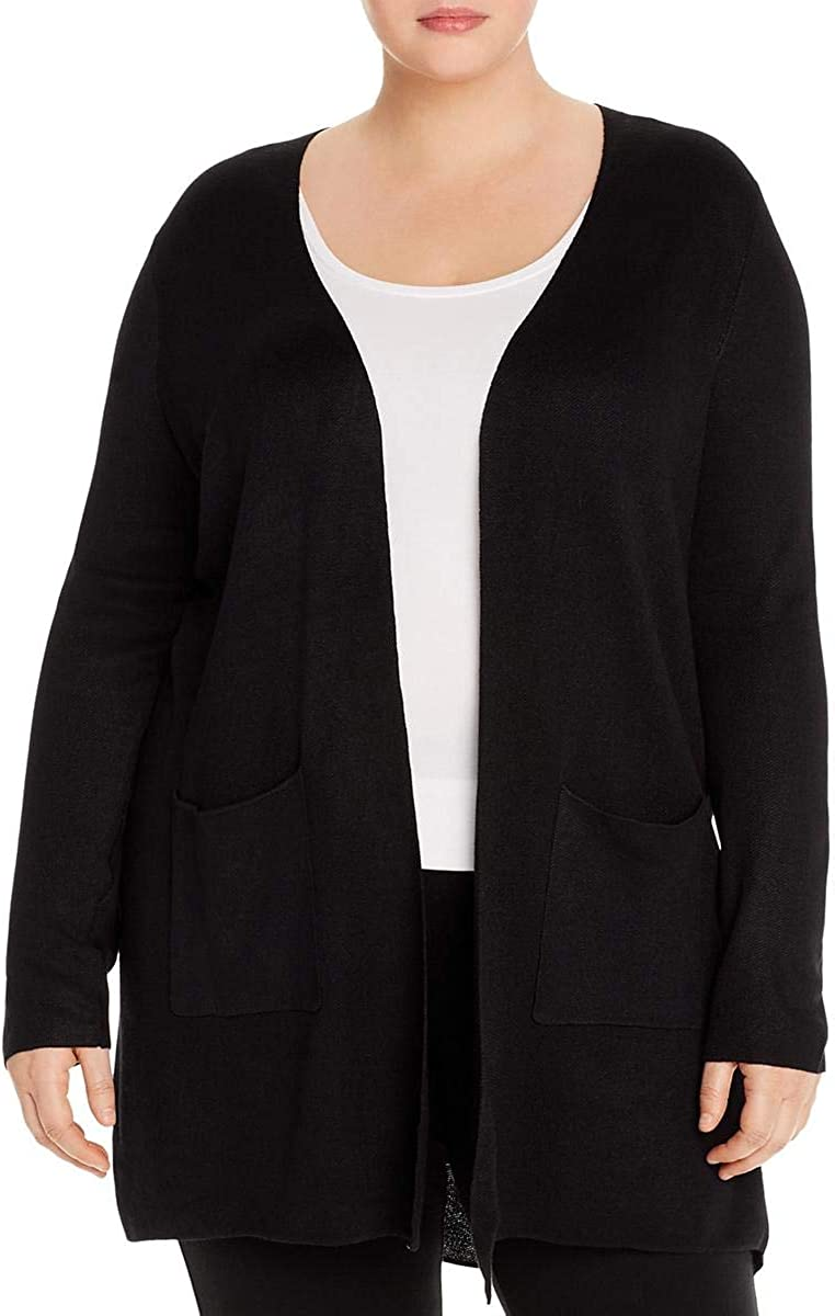 Joseph A Women's Plus Size Double Knit Open Sweater Cardigan Black, 3X