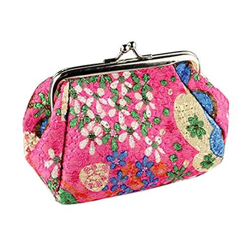 Livecitys Trousse à maquillage vintage Motif floral avec fermoir baiser pour femme Mini pochette porte-monnaie Rose Rouge