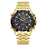 Relojmecánico de Esqueleto Dorado para Hombre Relojes de Correa de Metal de Acero Inoxidable Relojde Pulsera de Negocios de Cuarzo Relojimpermeable Pantalla Dual