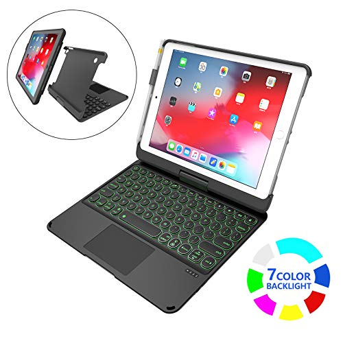 Funda Teclado para iPad 9.7 2017 y 2018 / iPad Air 1 y 2 / iPad Pro 9.7, Estuche Blando Desmontable, Estuche para iPad de 360 Colores con retroiluminación de 7 Colores inalámbrico