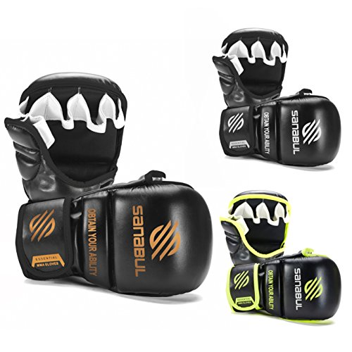 Sanabul New Item Essential 7 oz MMA Hybrid Sparring Gloves (Black/Copper, Small/Medium)