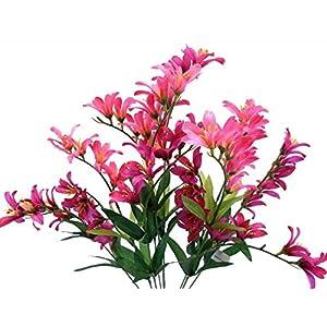 """Silk Flower Arrangements GF Artificial Silk Flowers Beauty Freesia Bush 9 Stems 21"""" Bouquet MG019"""