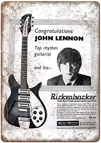 not Rickenbacker Guitar John Lennon Retro wall decor Metal Tin Sign Painted Art Poster Decoration Plaque Warning Cafe garage party Game Room Door Signs