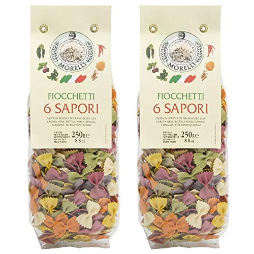 Morelli Fioccchetti 6 Sapori - Italian Pasta 6 Flavor Bowties Naturally Flavored with Black Carrot, Beetroot, Spinach, Tumeric, and Red Chilli - 8.8oz (250g) - pack of 2