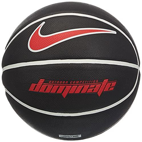 Nike Dominate 8P - Balón de Baloncesto para Hombre, Color Negro, Blanco, Rojo Universal, Talla 7