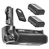 Impulsfoto - Empuñadura de batería compatible con Canon EOS 7D Mark II + 2 baterías como LP-E6 + disparador IR para Canon BG-E16 - Meike