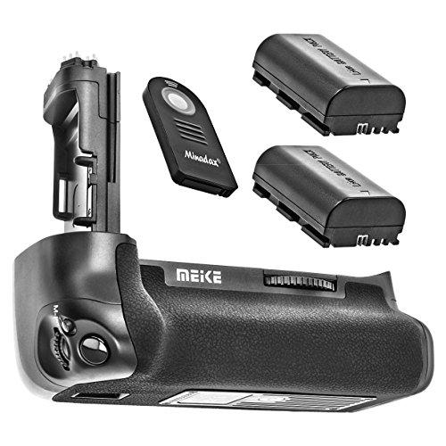 Batteriegriff Akkugriff kompatibel mit Canon EOS 7D Mark II + 2X Akkus wie LP-E6 + IR Auslöser, Ersatz für Canon BG-E16 - Meike