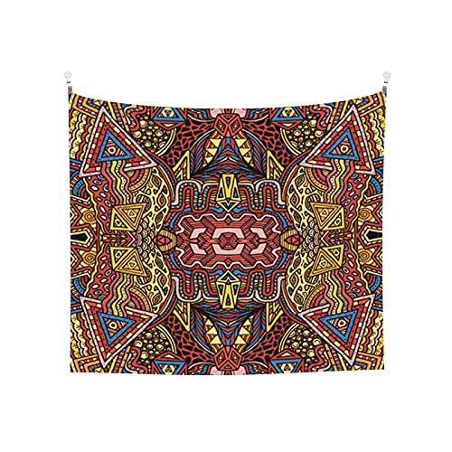 Tapiz de Pared,Vector Retro Color Dibujado A Mano Ilustración Psicodélica Abstracta De Patrones *Tapestry( Colgante de Pared)Decoración de Pared del hogar para Dormitorio Sala de Estar 203 x 152cm