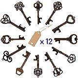 12 PCS Key Bottle Openers, 12 Styles Assorted Vintage Skeleton Wedding Party Favors Key Bottle Opener with Escort Tag Kraft Card