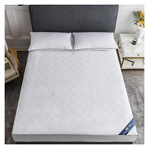 LJP Bedding Quilted Mattress Cover Deep Pocket Non Slip Breathable Mattress Protector Soft Machine Washable Durable (Color : White, Size : 90x200cm)