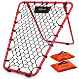 GoSports Basketball Rebounder with Adjustable Frame, Rubber Grip Feet and Sandbags | Portable Pass Back Training Aid - 5 Min Setup, Red