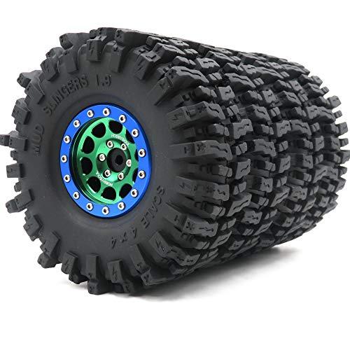 4 neumáticos RC 1.9 Mud Slingers Super Grip Altura (OD) 120 mm y aluminio 1.9 Beadlock llanta azul/negro/verde
