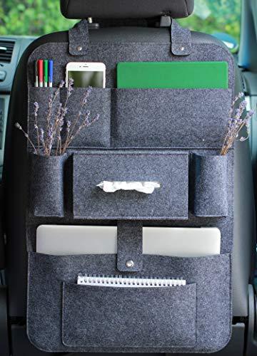 Auto organizer Rückenlehnenschutz multi Staumöglichkeiten Wohnmobil Zubehör Innenraum, 62 x 41 cm - Dunkelgrau