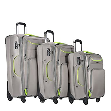 3 Piece Luggage Set Durable Lightweight Soft Case Spinner Suitecase LUG3 RS3049 LIGHT GREY
