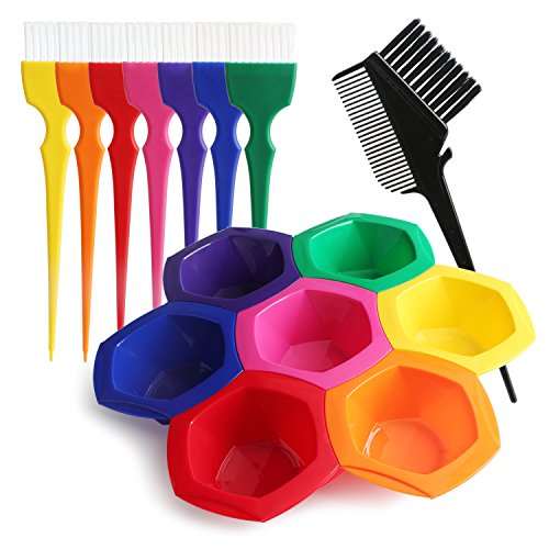 Hair Color Bowl and Brush Set(15pcs), Segbeuaty Hair Coloring Highlighting Tools on Hair Dye, Rainbow Hair Color Mixing Bowls Brushes Comb for Dyed Hair, Omber Hair Dye or Art Paint Palatte