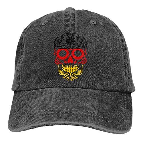 iuitt7rtree Fitness Hip Hop Sombrero de calavera, secado rápido, absorbe la humedad, gorra de viaje, bandera alemana de azúcar calavera, vaquero, gorra de béisbol ajustable