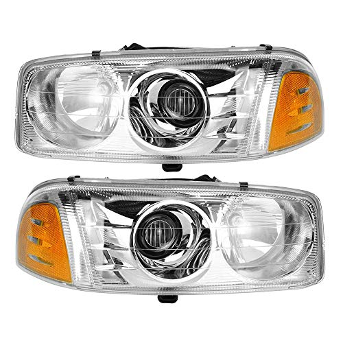 Epic Lighting OE Fitment Replacement Headlights Assemblies Compatible with 2001-2007 Sierra C3 Sierra Denali Yukon Denali Yukon XL Denali Left Driver & Right Passenger Sides Pair