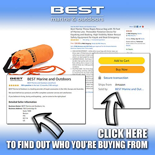 Best Marine and Outdoors Bag Rescue Rope. Device for Kayaking, Boating & Ice Fishing. Marine Grade Line, Kayak & Boat Emergency. Water Rescue Safety Equipment. 70 Feet