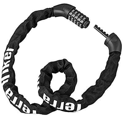 Terra Hiker Bike Chain Lock, Coiling 5-Digit Combination Lock for Bicycles, Keyless, Heavy Duty