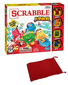 Scrabble Junior Jr Board Game Bundle with Drawstring Bag