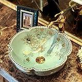 Hiwenr Lavelli da Bagno in Porcellana di Loto Classico in Arte Lavelli da appoggio in Ceramica Colorati