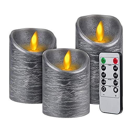 3pcs Velas LED con Mando a Distancia de 10 Botones Regulable para...