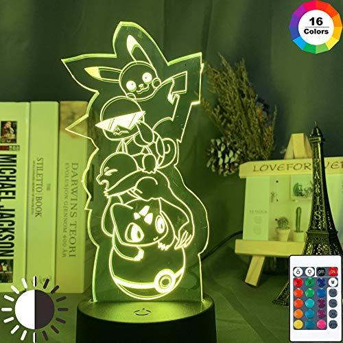 KangYD 3D-Nachtlichtspiel Pokemon Pikachu, LED Optical Illusion Lamp, G - Handy-Kontrollbasis, Raumbeleuchtung, Modernes Dekor, Kinderlampe, Weihnachtsgeschenk
