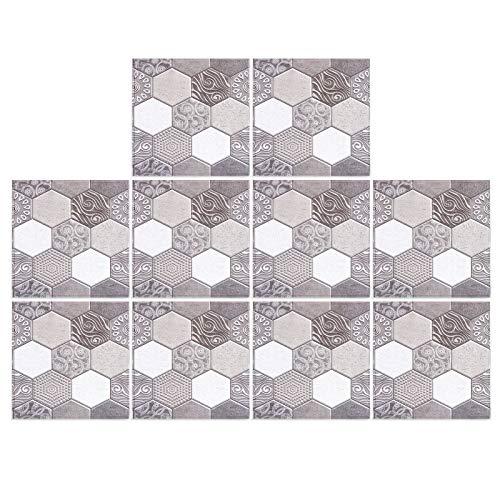 Zhoul 10PCS 3D Etiqueta de baldosas de cerámica, calcomanías autoadhesivas de pared DIY, adhesivo anticolisión para la decoración de la cocina de la sala de estar del hogar