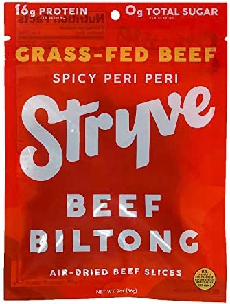 Stryve Beef Biltong Grass fed Biltong Jerky 16g Protein 0g Sugar 1g Carb Gluten Free No Hormones product image