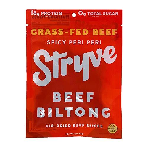 Stryve Beef Biltong, Grass-fed Biltong Jerky, 16g Protein, 0g Sugar, 1g Carb, Gluten Free, No Hormones, No Antibiotics, No Preservatives, No Nitrates - Spicy Peri Peri, 2oz