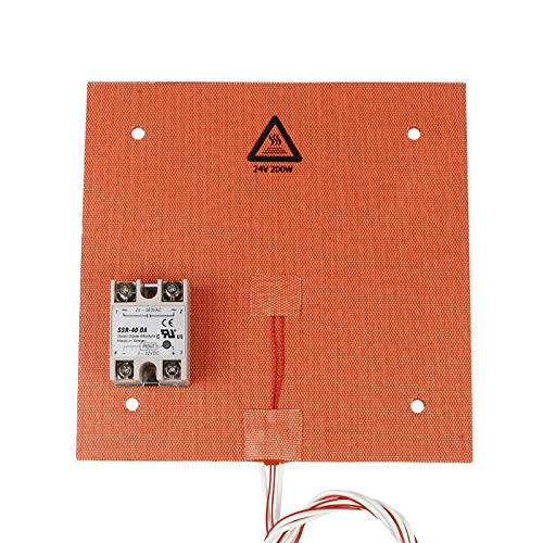Printer Accessories 235 * 235mm 24V 200W Silicone Pad Heated Bed Heating Pad + SSR Solid State Relay Kit for 3D Printer