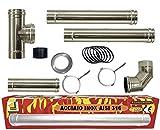 poêle à pellets de tube de 80 mm Kit de tubes en acier INOX 316 L 600 ° CE noir NO résistant fabriqué en Italie 1856-2